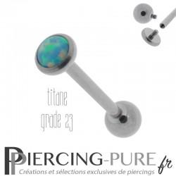 Piercing Langue Titane Interne Opale reflets vert clairs 5mm
