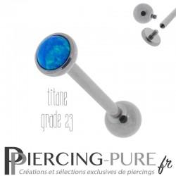 Piercing Langue Titane Interne Opale reflets bleus 5mm