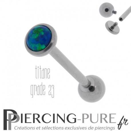 Piercing Langue Titane Interne Opale reflets bleus et verts 5mm