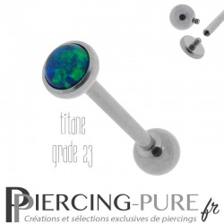 Piercing Langue Titane Interne Opale reflets verts et bleus 5mm