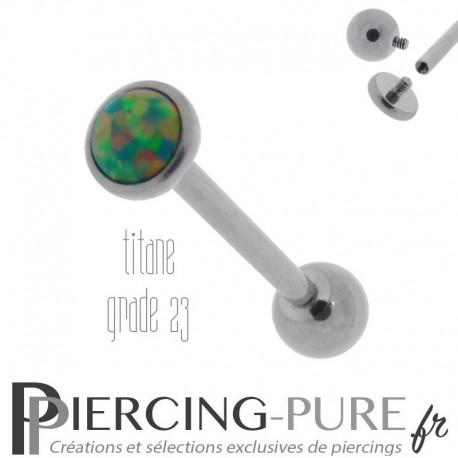 Piercing Langue Titane Interne Opale reflets verts 5mm