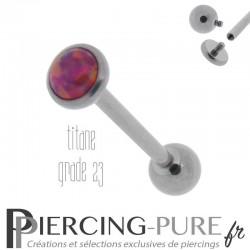 Piercing Langue Titane Interne Opale reflets fushia 5mm