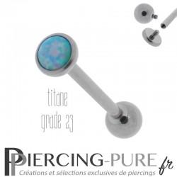 Piercing Langue Titane Interne Opale reflets roses et bleus 5mm