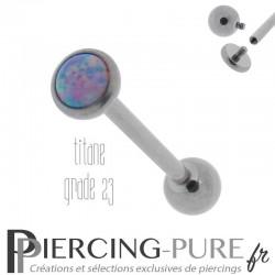 Piercing Langue Titane Interne Opale reflets roses et violets 5mm