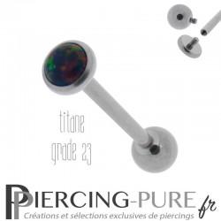 Piercing Langue Titane Interne Opale reflets rouges, verts et bleus 5mm