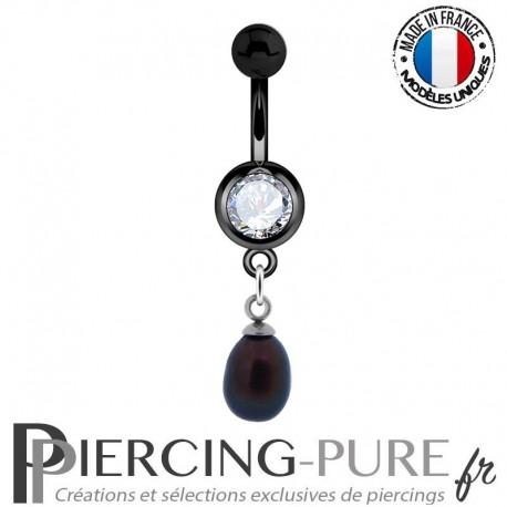 Piercing Nombril Blackline et perle naturelle noire pendante