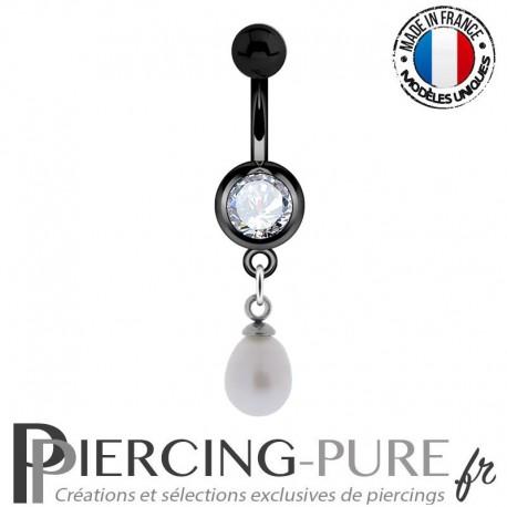 Piercing Nombril Blackline et perle naturelle blanche pendante