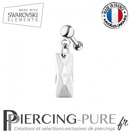 Piercing Oreille Tragus Swarovski Elements Queen Baguette Crystal