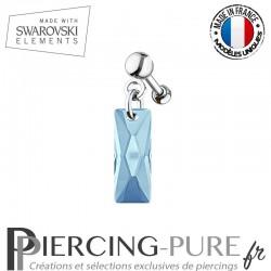 Piercing Oreille Tragus Swarovski Elements Queen Baguette Crystal Aquamarine
