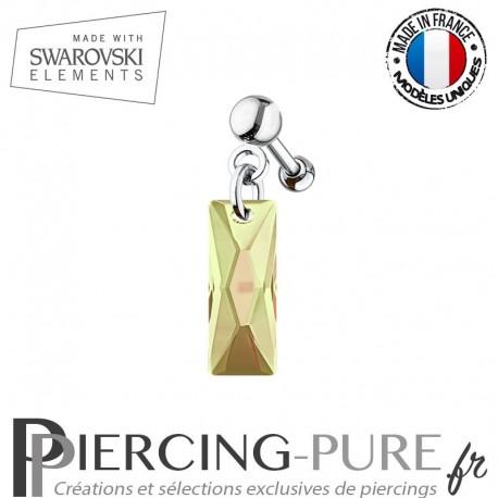 Piercing Oreille Tragus Swarovski Elements Queen Baguette Crystal Luminous Green