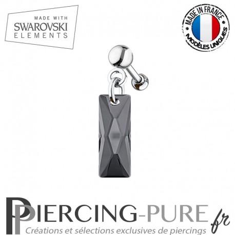 Piercing Oreille Tragus Swarovski Elements Queen Baguette Crystal Silver Night
