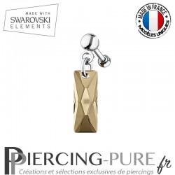Piercing Oreille Tragus Swarovski Elements Queen Baguette Crystal Golden Shadow