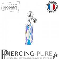 Piercing Oreille Tragus Swarovski Elements Queen Baguette Crystal AB
