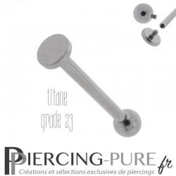 Piercing Langue Titane Bille et disque 4mm - Pas de vis interne