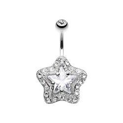 Piercing Nombril étoile blanche sertie de Pierres