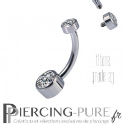 Piercing nombril Titane Disques de cristaux Blanc