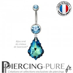 Piercing Nombril Acier Baroque Swarovski Elements Crystal Bermuda Blue