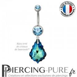 Piercing Nombril Acier Baroque Crystal Bermuda Blue