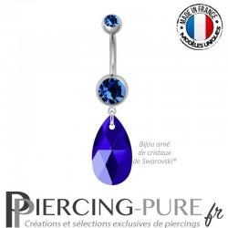 Piercing Nombril Acier Poire Crystal Majestic Blue