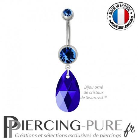 Piercing Nombril Acier Poire Swarovski Elements Crystal Majestic Blue