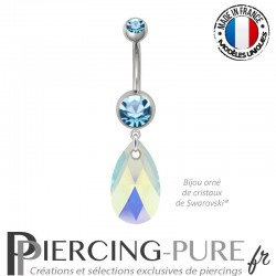 Piercing Nombril Acier Poire Swarovski Elements Crystal Aquamarine AB