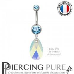 Piercing Nombril Acier Poire Crystal Aquamarine AB