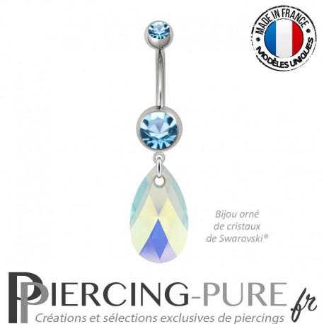Piercing Nombril Acier Poire Swarovski Elements Crystal Aquamarine AB