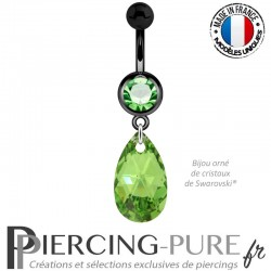 Piercing Nombril Blackline Vert Poire Swarovski Elements Crystal Peridot Comet Argent Light 16mm