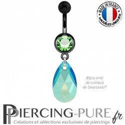 Piercing Nombril Blackline Vert Poire Swarovski Elements Crystal Emerald Shimmer 16mm