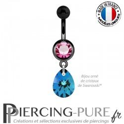Piercing Nombril Blackline Rose Goutte Swarovski Elements Crystal Bermuda Blue 10mm