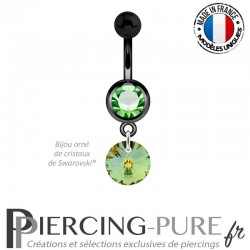 Piercing Nombril Blackline Vert Swarovski Elements Crystal Sahara 8mm