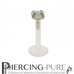 Piercing Labret Flexible Opale blanche griffée 3mm