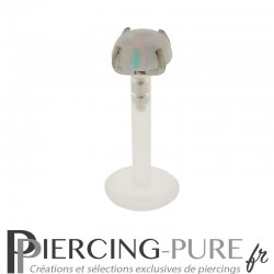Piercing Labret Flexible Opale blanche griffée 4mm