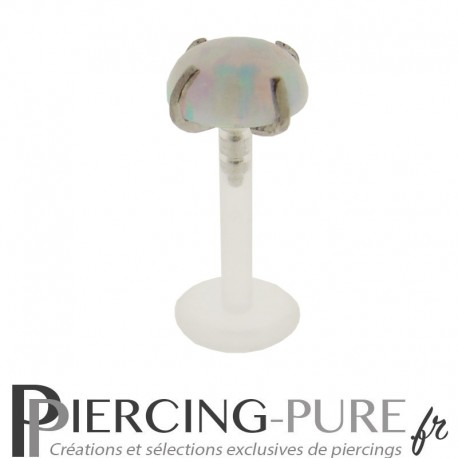 Piercing Labret Flexible Opale blanche griffée 5mm