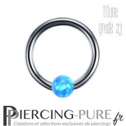 Anneau Titane opale bleue clipsée - 1,2x8x3mm