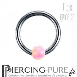 Anneau Titane opale rose clipsée - 1,2x8x3mm