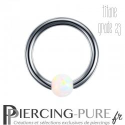 Anneau Titane opale blanche clipsée - 1,2x8x3mm