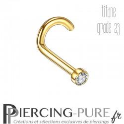 Piercing Nez Titane Doré Cristal Blanc clos