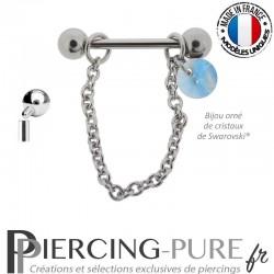 Piercing Téton acier chainette ornée d'un cristal de Swarovski® Rivoli Aquamarine Shimmer