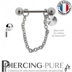Piercing Téton acier chainette ornée d'un cristal de Swarovski® Rivoli Aurore Boréale