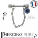 Piercing Téton acier chainette ornée d'un cristal de Swarovski® Rivoli Dark Indigo