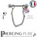 Piercing Téton acier chainette ornée d'un cristal de Swarovski® Rivoli Rose Peach Shimmer