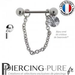 Piercing Téton acier chainette ornée d'un cristal de Swarovski® Rivoli Black Patina