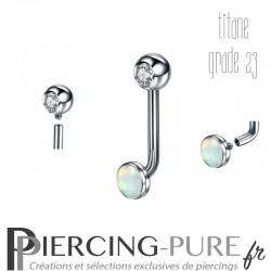 Piercing Génital Titane Opale et Cristal blanc