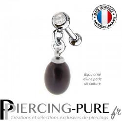 Piercing Oreille Tragus Perle naturelle pendante noire et cristal blanc