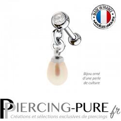 Piercing Oreille Tragus Perle naturelle pendante rose et cristal blanc