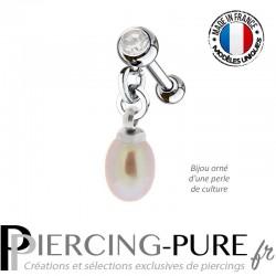 Piercing Oreille Tragus Perle naturelle pendante rose métallique et cristal blanc