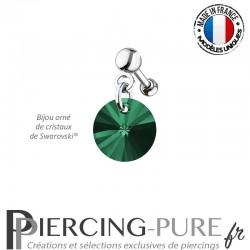 Piercing Oreille Tragus Crystal Rivoli Emerald