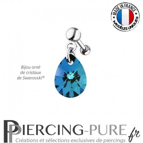Piercing Oreille Tragus Crystal Goutte Bermuda Blue