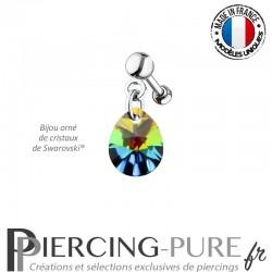 Piercing Oreille Tragus Crystal Goutte Vitrail Medium